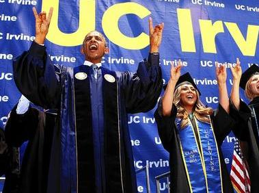 Zot! Zot! Zot! - our president makes the sign of the ANTEATER at Irvine commencement